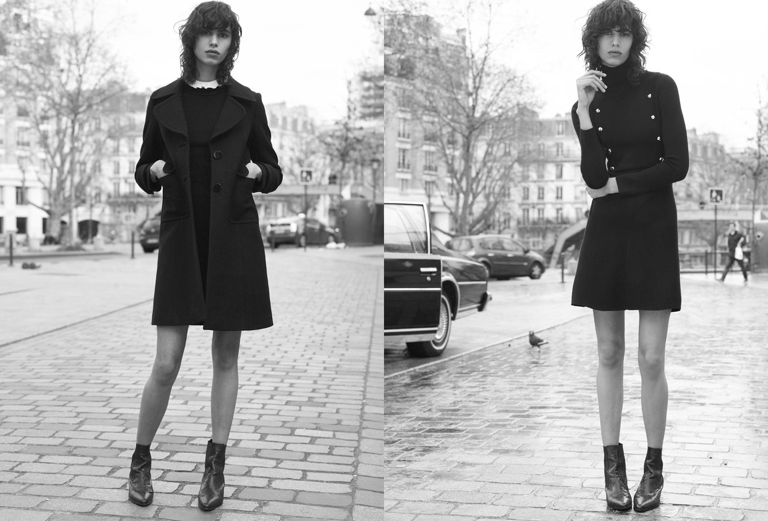 78ed5f932b Manteau et robe noire Sandro 2016. La campagne Sandro automne-hiver 2015- 2016 ...