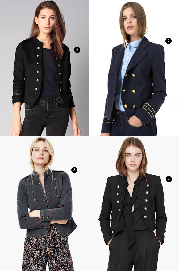 Veste bleu marine femme style officier