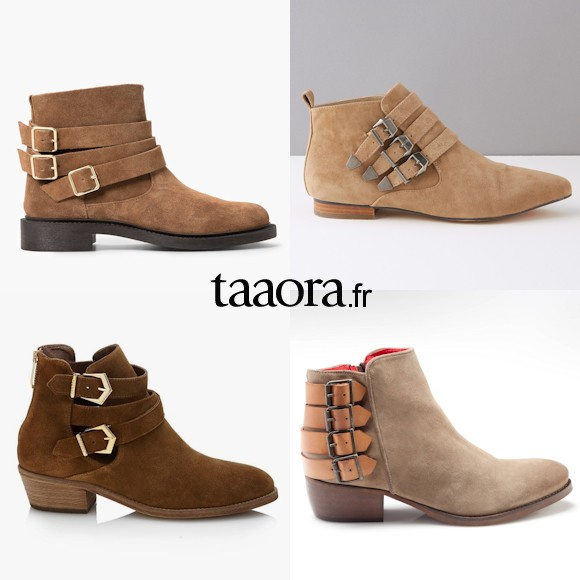 boots multi brides boucles en daim chaussures. Black Bedroom Furniture Sets. Home Design Ideas