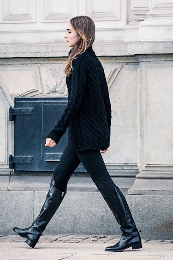 total look noir avec des cuissardes plates un pull en maille torsad e et un jean slim taaora. Black Bedroom Furniture Sets. Home Design Ideas