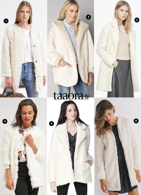 Top Manteau mouton blanc : Naf Naf, Derhy, Mango, 2TWO, Promod, Best  KR94