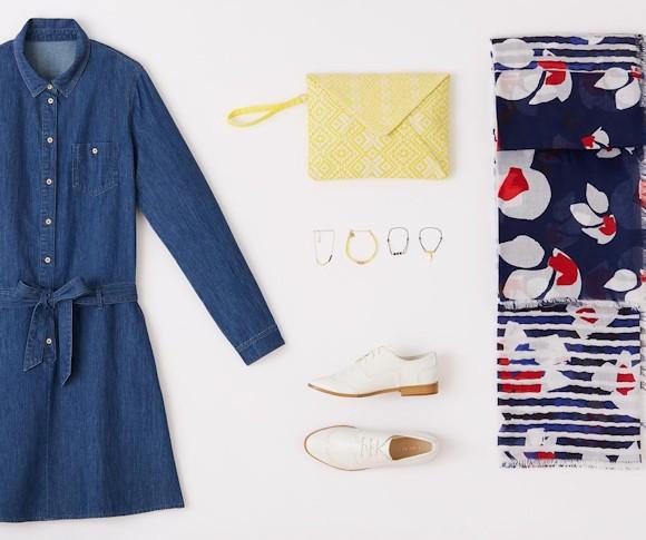 look pour le printemps 2016 avec une robe en jean et des derbies blanches taaora blog mode. Black Bedroom Furniture Sets. Home Design Ideas