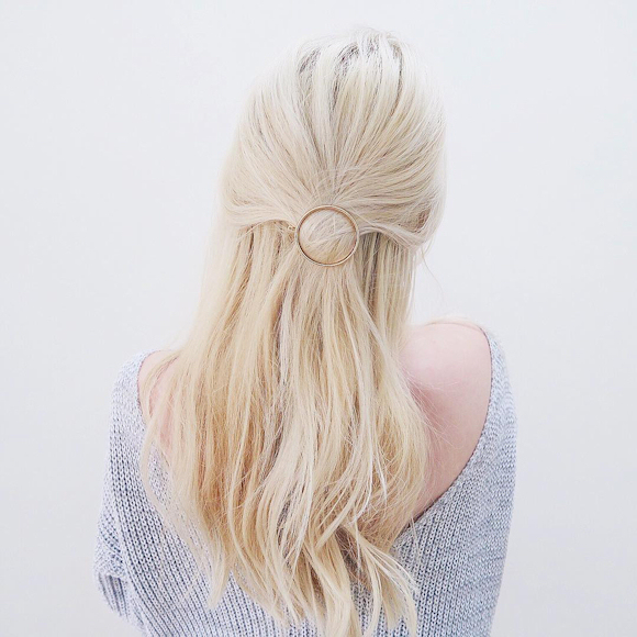 Barrette à cheveux anneau doré