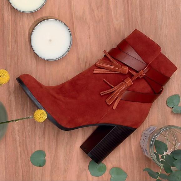Boots seventies rouge brique