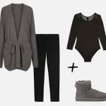 Look cocooning avec des bottines UGG grises, un gilet décontracté en cachemire, un legging noir et un body à manches longues