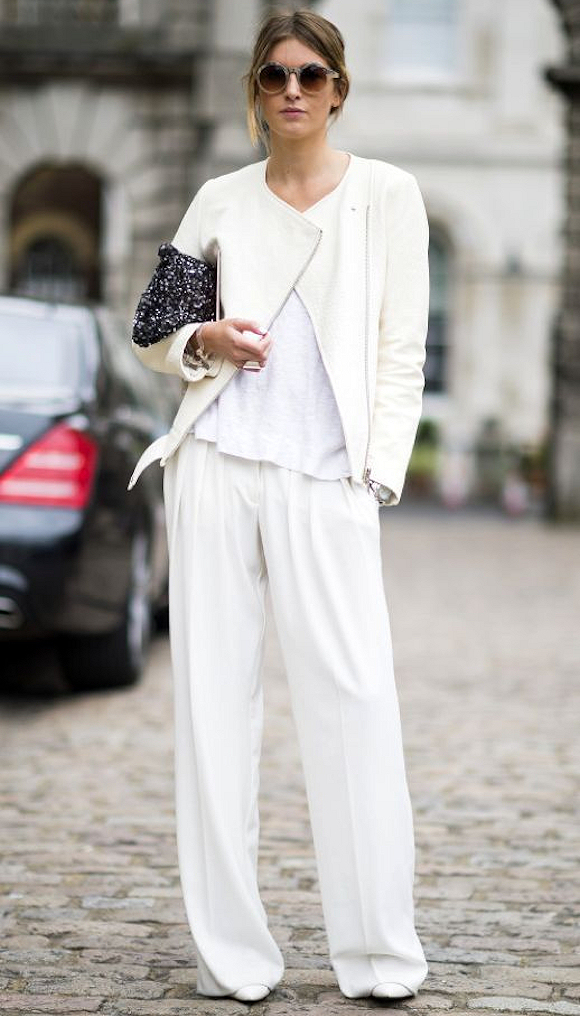 Total Look Blanc Pantalon Large Veste Biker Chic