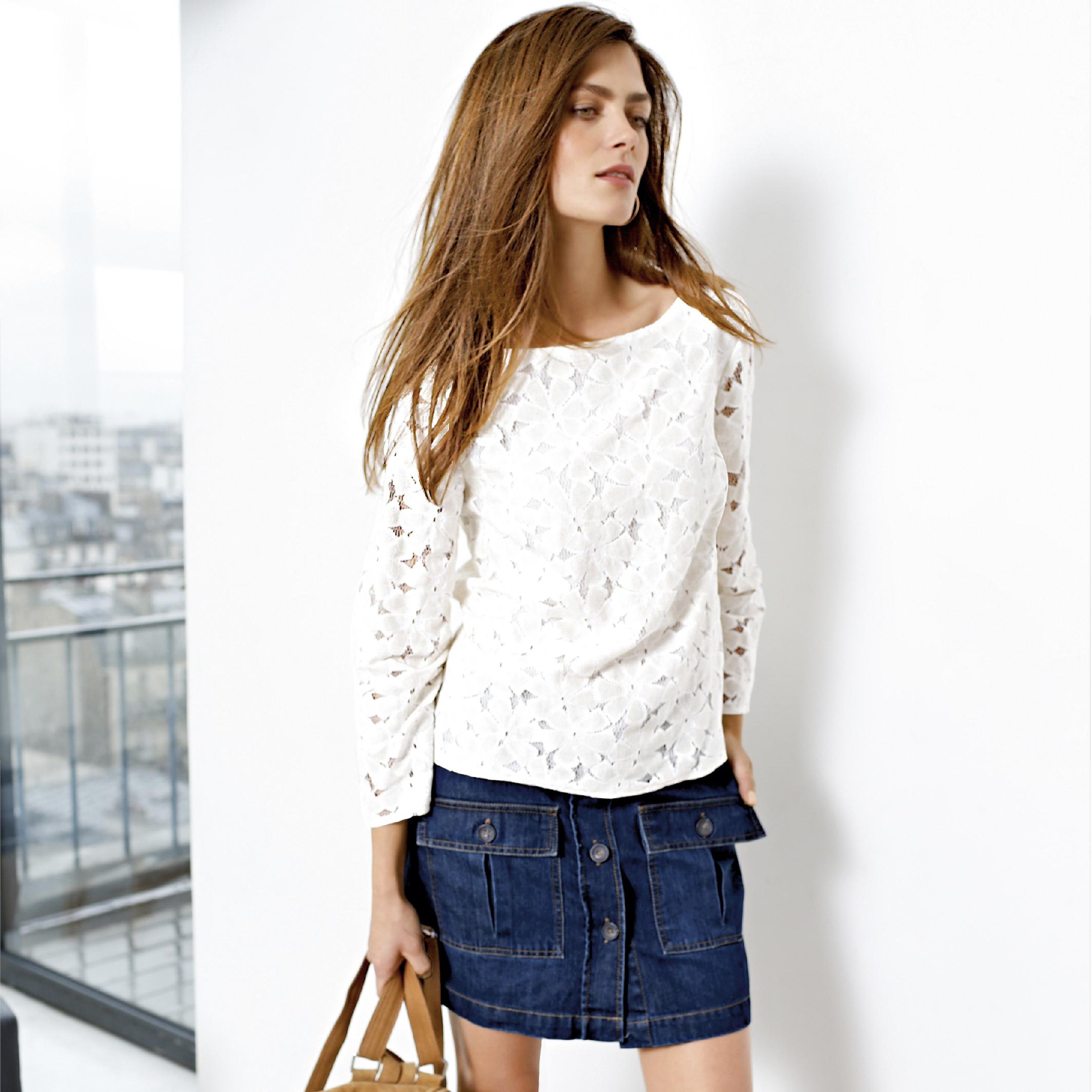 26c2ca7f15 Top en dentelle blanc à manches longues : essentiel mode printemps ...