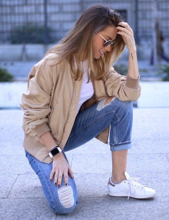 look avec un bomber beige veste incontournable de la saison printemps t 2016 taaora blog. Black Bedroom Furniture Sets. Home Design Ideas