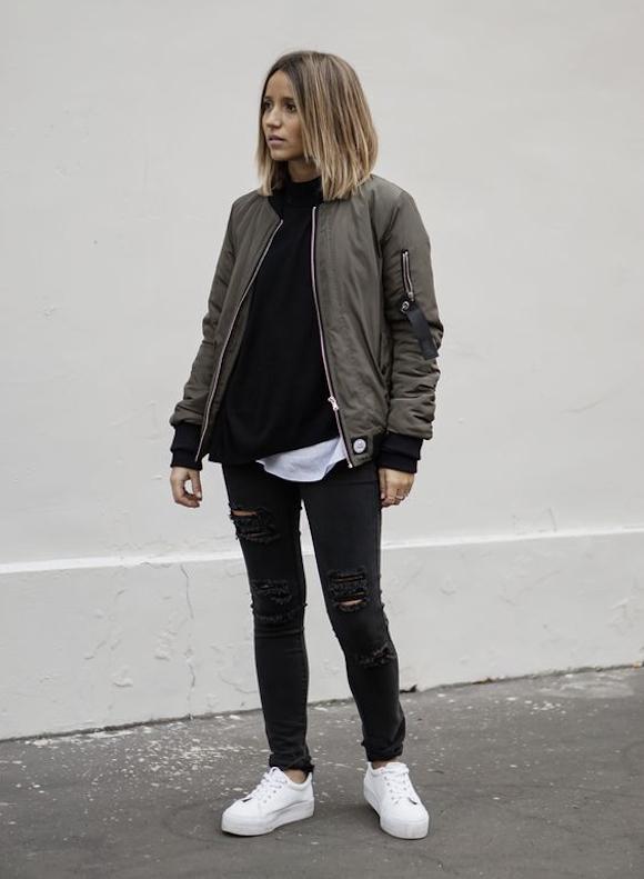 37c555ccce5671 Kaki Et Noir Look – Fashionsneakers.club