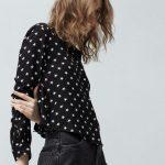 Osez la chemise noire à petites étoiles blanches, tendance, chic et originale !