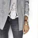 Idée de tenue avec blazer gris style dandy chic + blouse à empiècements dentelle + jean gris foncé