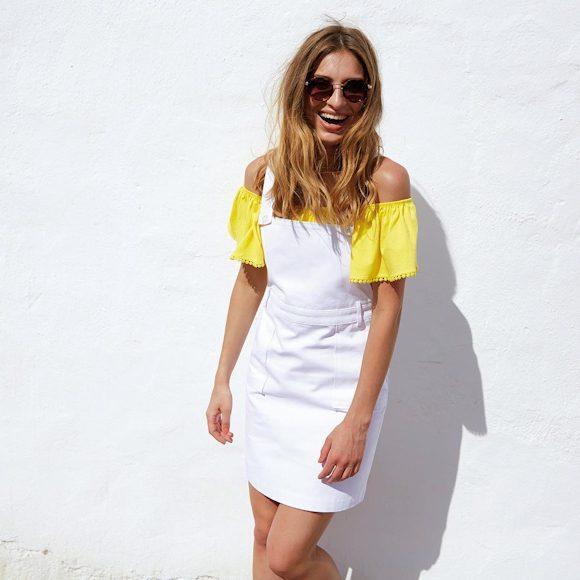 Look top Bardot jaune