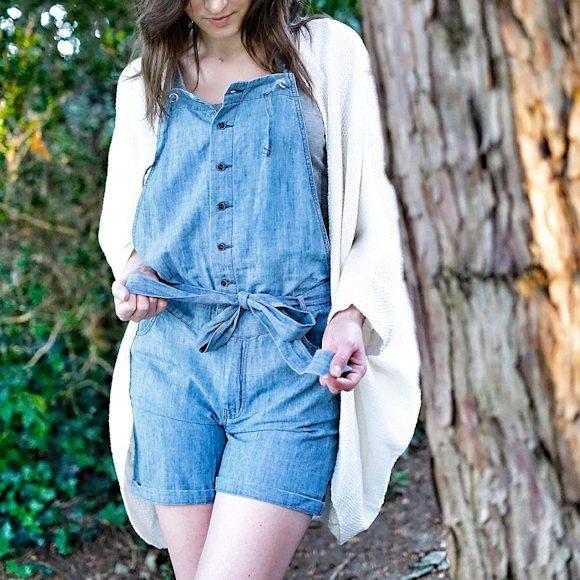 Combi-short salopette bleue en jean