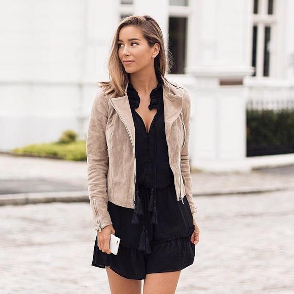 outfit of the day veste beige en daim robe noire pompons taaora blog mode tendances. Black Bedroom Furniture Sets. Home Design Ideas