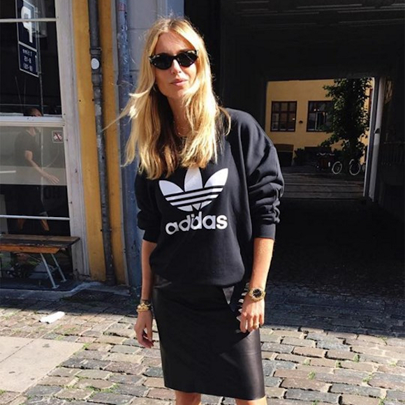 Simili Droite AdidasJupe ChicSweat Sport Noire En Cuir Look 4ARLqcj35