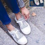 Baskets blanches à franges pailletées et interchangeables pour changer de style