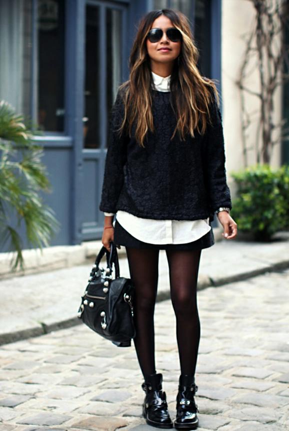 Souvent Le look black and white de Sincerely Jules avec des boots rock  WB79