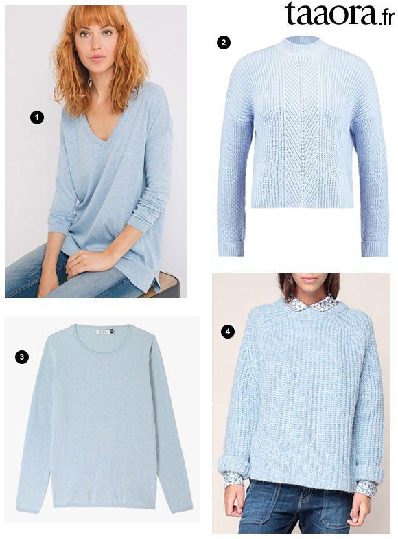 4 pulls bleu clair couleur tendance automne hiver 2017 shopper tout de suite taaora. Black Bedroom Furniture Sets. Home Design Ideas