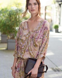 Look automne robe imprimé cachemire