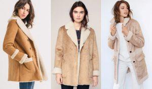 Manteau camel façon peau retournée col lainé blanc