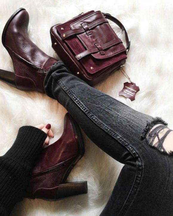 look avec des boots bordeaux chaussures phares de l automne hiver taaora blog mode. Black Bedroom Furniture Sets. Home Design Ideas
