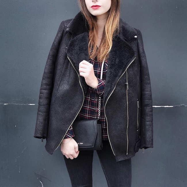 Veste noir col mouton femme