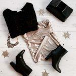 Comment s'habiller pour Noël ? Idée de tenue avec une jupe dorée