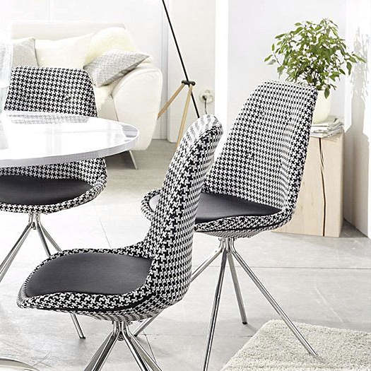chaises style ann es 50 motif pied de poule noir blanc. Black Bedroom Furniture Sets. Home Design Ideas