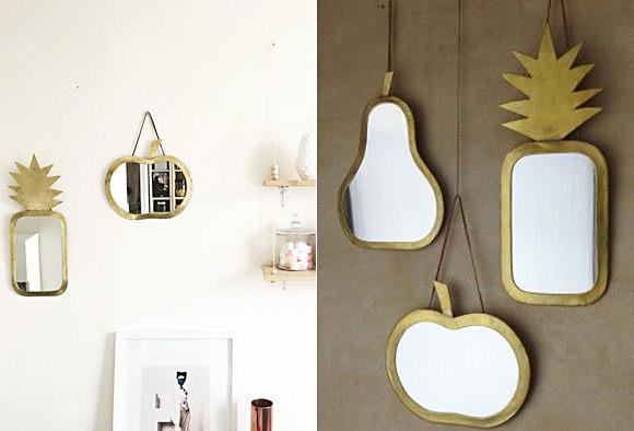 Miroir doré ananas poire pomme