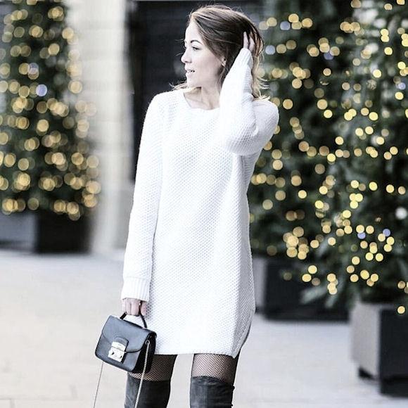 2fc8015eda8 Copiez ce look avec une robe pull blanche à manches longues – Taaora ...