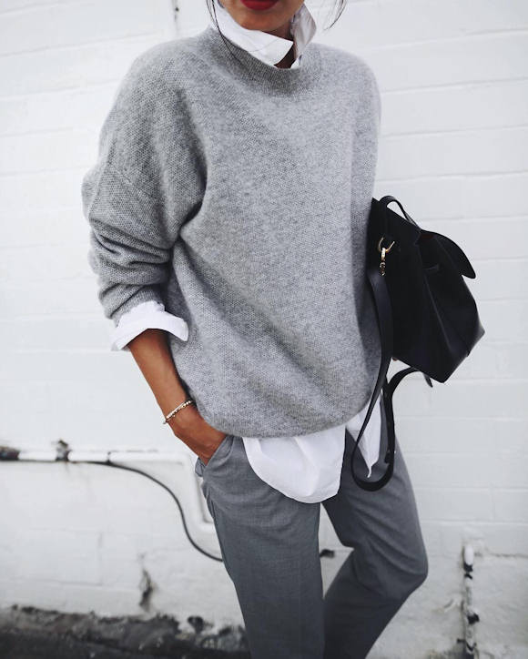 pull cachemire gris chemise blanche pantalon habill un look boyish copier taaora. Black Bedroom Furniture Sets. Home Design Ideas