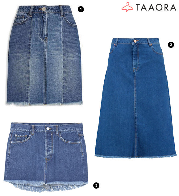 tendance mode printemps t 2017 la jupe en jean ourlet effiloch taaora blog mode. Black Bedroom Furniture Sets. Home Design Ideas