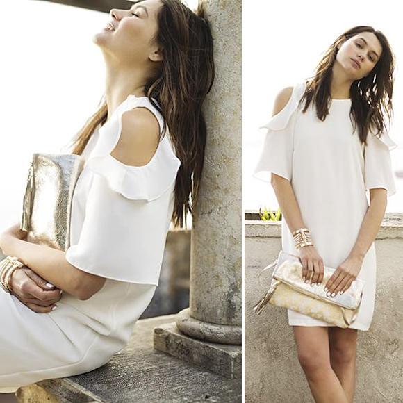 Tenue de soirée   robe blanche à épaules ajourées + pochette dorée ... fae007ef77b5