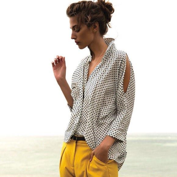 look chic chemise imprim e pantalon 7 8 jaune taaora blog mode tendances looks. Black Bedroom Furniture Sets. Home Design Ideas