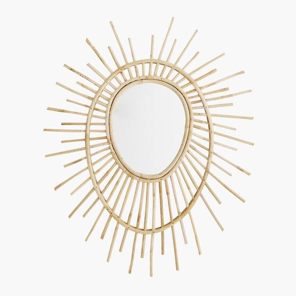 Miroir ovale en bambou