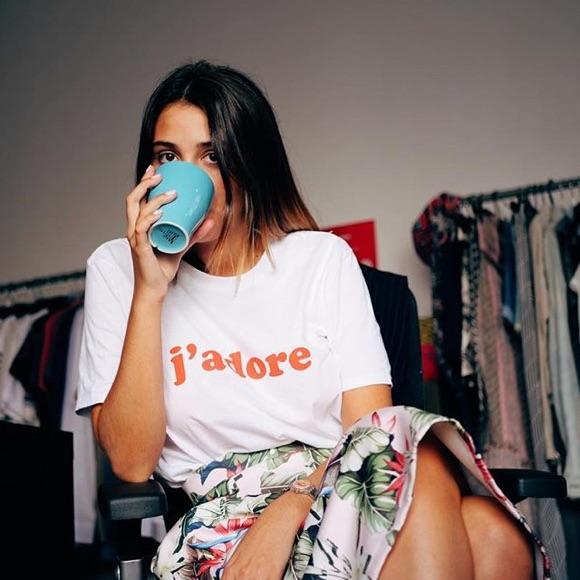 T-shirt avec message J'adore