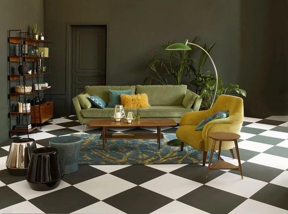 Canapé velours vert décoration salon tendance