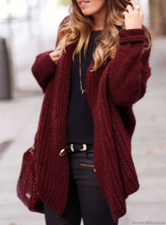 Cardigan bordeaux grosse maille