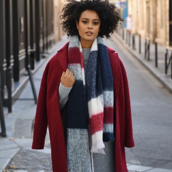 Manteau bordeaux en laine