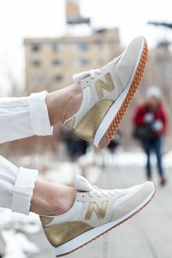 basket new balance femme doree