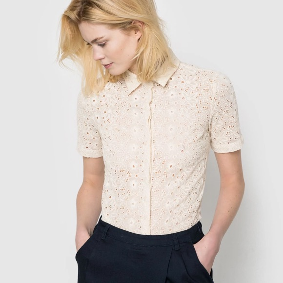 Chemise ivoire broderie anglaise
