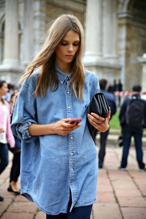 Look casual chemise en jean