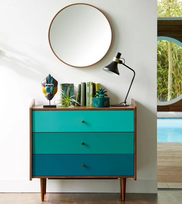 Commode tiroirs bleu-vert