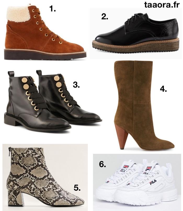 Chaussures tendances hiver 2019  boots, baskets, bottes, derbies