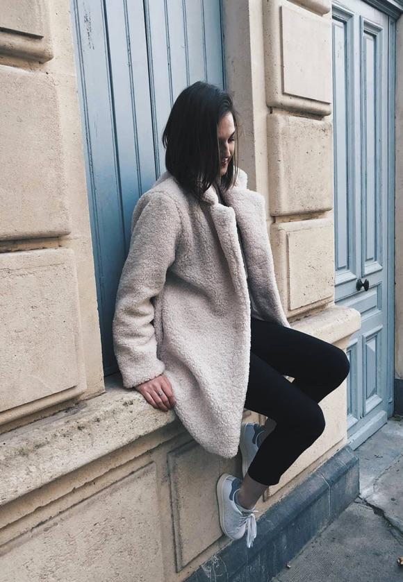 Manteau doudou blanc idée tenue