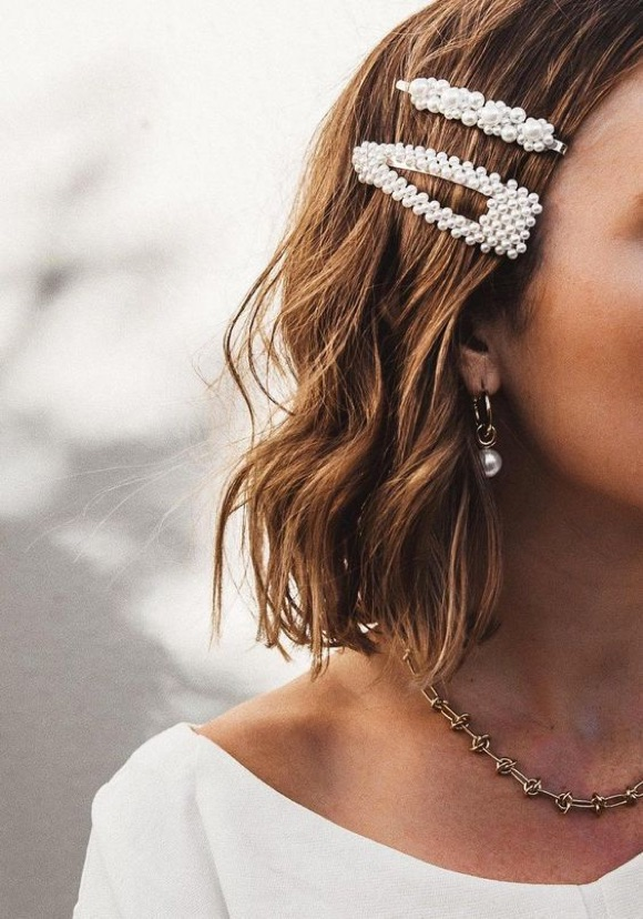 Barrette cheveux perles