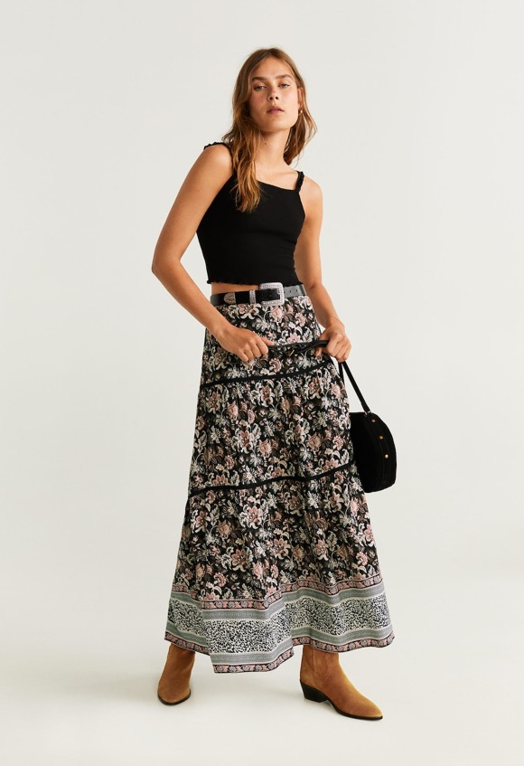 Tenue bohème jupe fleurs