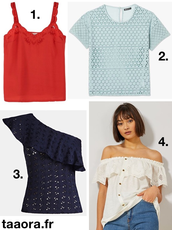 Top en broderie anglaise