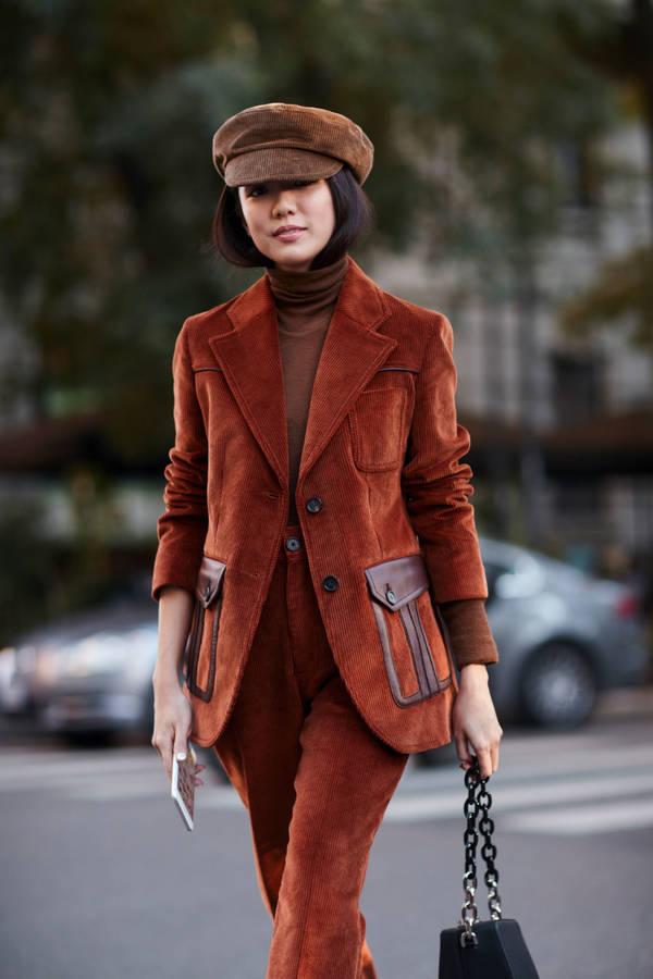 Look blazer velours côtelé