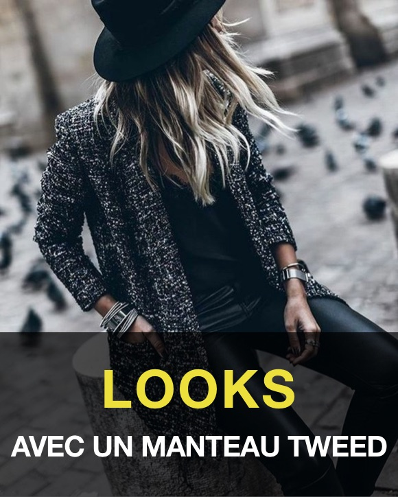 Tenue femme manteau tweed